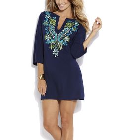 Neo Navy Paisley Embroidered Notch Neck Tunic