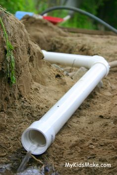 Add a little water to your dirt/sand pit: Building with PVC pipe | My Kids Make...