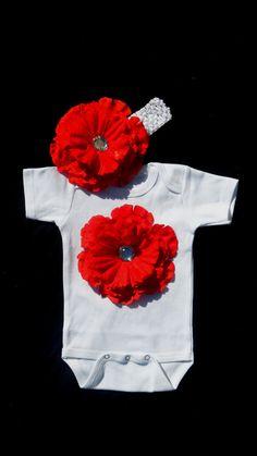 Flower Onesie and headband Baby Girl Onesie Gift Set by LilMamas, $19.95