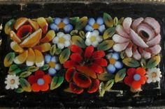 Vintage Micro Mosaic Floral Tile Brooch Pin Italy Black Background