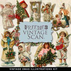 Freebies Vintage Xmas Scrap Vignettes