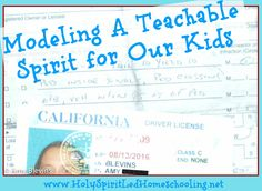 Modeling a Teachable Spirit for our Kids