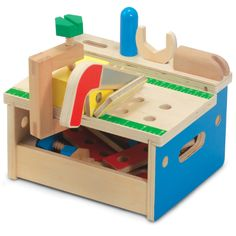 Little builders will love making things with this mini tool bench.  There are nails to pound with the hammer, screws to turn with the screwdriver, and panels to connect and saw apart