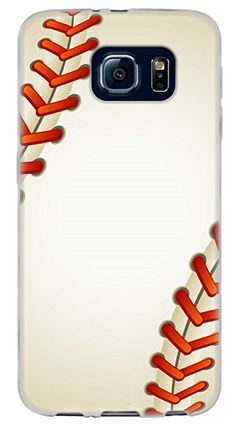 {Ball Team Sports Baseball} Soft and Smooth Silicone Cute 3D Fitted Bumper Back Cover Gel Case for Samsung Galaxy S6 {Color is White and Red}