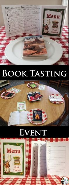 BOOK -TASTING and TEXT-TASTING: To run book-tasting or text-tasting events, youll need several books, short stories or articles and menu covers with task sheet inserts. Students hunt for authors craft techniques get exposure to multi-genre texts, Library Activities, Reading Activities, Teaching Reading, Teaching Tools, Teaching Genre, Genre Activities, Reading Games, Book Tasting, Menu Covers