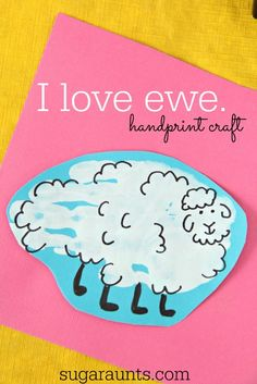 Sheep hand print and fingerprint ideas for Valentines Day or any day! I love EWE. This is so cute!