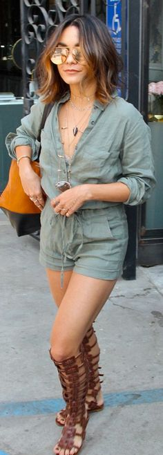 Vanessa Hudgens: Romper – Rails Sunglasses – Quay Australia Necklaces – Jacquie Aiche Purse – Danielle Nicole Shoes – Christian Louboutin