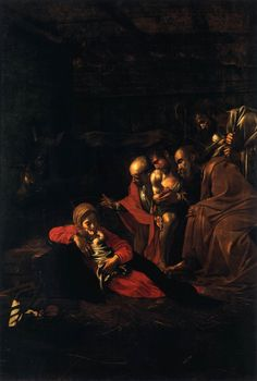 The Adoration of the Shepherds reproduction by (Michelangelo) Caravaggio Baroque Painting, Baroque Art, Italian Baroque, Italian Painters, Italian Artist, Carravagio Paintings, Michelangelo Caravaggio, Web Gallery Of Art, Galerie D'art En Ligne