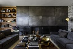 metal fireplace modern