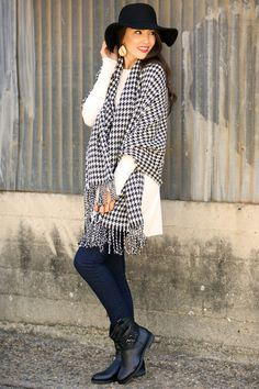 Snuggle Up In Houndstooth Scarf