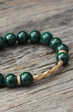I like the twisted detail - Green Malachite 14K Gold Bracelet / 14K Gold Filled