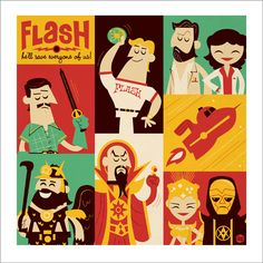 Flash Gordon (1954–1955) | Action ~ Adventure ~ Fantasy | Flash Gordon & his crew patrol space, battling space monsters, power-mad alien dictators and other threats to the stability of the universe. | Artwork by Dave Perillo [©2011-2014 Montygog]