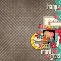 digital scrapbook layout, Mardi Gras, brother, sister, family, afro, parade, celebrate