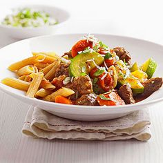 Mediterranean Beef with Pasta Recipe Main Dishes with beef stew meat, olive oil, carrots, sweet pepper, onions, garlic, italian seasoning, salt, ground black pepper, diced tomatoes, lower sodium beef broth, zucchini, penne pasta, gremolata, shredded parmesan cheese, fresh basil, garlic