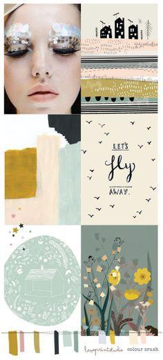 love print studio blog: COLOUR CRUSH - peach, dusty blue, dark charcoal, dark mustard