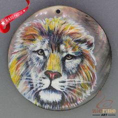 HAND PAINTED LION NATURAL MOP MOTHER OF PEARL SHELL NECKLACE PENDANT ZH30 00060 #ZL #PENDANT