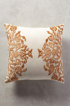 Anthropologie EU Vining Velvet Cushion. Sumptuously soft velvet and a botanical-inspired motif lend a graceful accent to favourite chairs and sofas.
