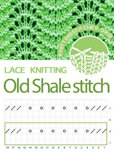 Old Shale Lace Knitting Chart. Multiple of 18 sts and a repeat. Lace Knitting Patterns, Knitting Stiches, Knitting Charts, Loom Knitting, Crochet Stitches, Stitch Patterns, Yarn Inspiration, Quick Knits, Knit Or Crochet