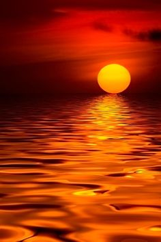 """Liquid Sun,"" rippling water reflects an orange sunset -- by Renee Doyle Beautiful Moon, Beautiful Sunrise, Beautiful Images, Amazing Sunsets, Amazing Nature, Pretty Pictures, Cool Photos, Amazing Photography, Nature Photography"