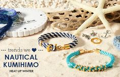 Make stunning resort inspired bracelets using Kumihimo braids and nautical themed charms. Start with sea inspired color pallets and add charms to help play up the theme. Our Kumihimo disks come with instructions on how to make the braids and basic braids are easy, even for beginners. Shop GoodyBeads.com today for all of your Kumihimo braiding supplies.