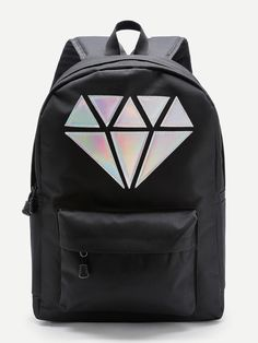 0a951cd2e Shop Metallic Diamond Patch Pocket Front Backpack online. SheIn offers  Metallic Diamond Patch Pocket Front