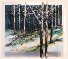 A kiln fired fused glass artist who designs landscape panels in glass, either free-standing or wall art. Located in Rhode Island, Alice Benvie Gebhart specializes in the northeast gardens, beaches and trees.