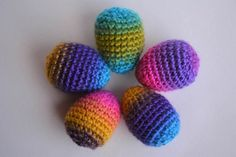 Set of 3 Jewel Tones Crocheted Easter Eggs Each One Unique
