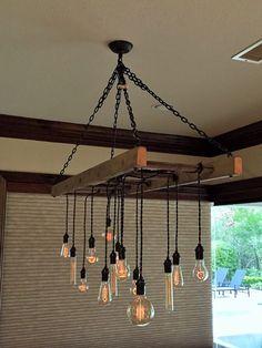 Ladder Pot Rack Converted to Chandelier by Client – Lighting Ideas Hanging Ladder, Old Ladder, Ladder Decor, Pot Rack Hanging, Rustic Lighting, Industrial Lighting, Lighting Design, Lighting Ideas, Country Kitchen Lighting