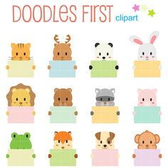 Items similar to Cute Animals Holding Blank Cards Digital Clip Art for Scrapbooking Card Making Cupcake Toppers Paper Crafts on Etsy Poster Background Design, Cute Tigers, Preschool Writing, Free Art Prints, Animal Costumes, Learning Colors, Scrapbook Paper Crafts, Blank Cards, Diy For Kids