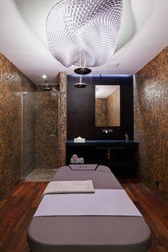 Prague-based Labor 13 have designed Miura Hotel located in Celadna, Czech Republic. Spa Design, Changing Room, Spa Massage, Spa Day, Lighting Design, Relax, Bathtub, Swimming Spa, Mirror
