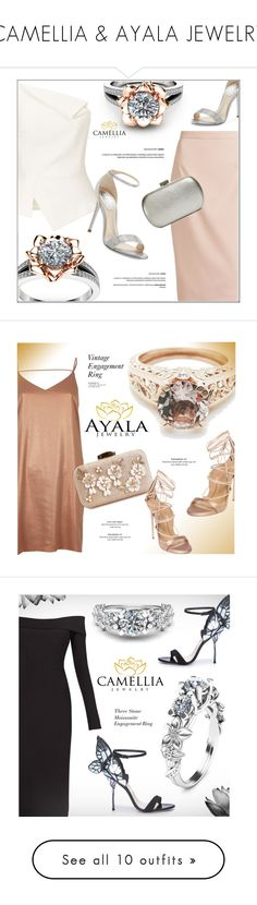 """""""CAMELLIA & AYALA JEWELRY"""" by monmondefou ❤ liked on Polyvore featuring ayaladiamonds, camelliajewelry, Roland Mouret, René Caovilla, Raoul, Whiting & Davis, jewelry, rings, cammeliajewelry and Dsquared2"""