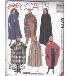 McCall's 6774 Women's Capes 1990s Sewing Patterns All Sizes Uncut
