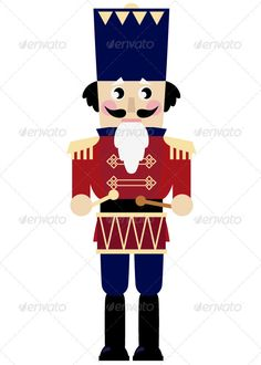 Illustration of Tin soldier or Nutcracker with drum. Vector Illustration vector art, clipart and stock vectors. Christmas Yard, Noel Christmas, Christmas Toys, White Christmas, Nutcracker Image, Nutcracker Soldier, Nutcracker Christmas, Nutcracker Sweet, Diy Christmas Decorations