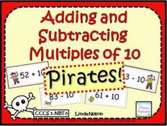 Pirates! Adding and Subtracting Multiples of Ten - Yo, ho! Practice adding and subtracting multiples of ten with this set of hand-on games and activities for your small groups and math centers..  A GIVEAWAY promotion for Pirates! Mentally Adding and Subtracting Ten and Multiples of Ten from Linda Nelson on TeachersNotebook.com (ends on 3-23-2015)