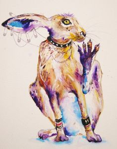 "hare punk painting- original watercolor titled ""hare raiser"""
