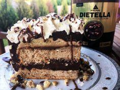 Csupa csoki somlói galuska torta mogyorókrémmel | Peak girl Fitt, Protein, Food And Drink, Low Carb, Sweet, Recipes, Snacks, Drinks, Deserts