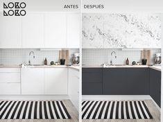 En este post encontraréis el antes y el después de 10 cocinas blancas, que con la ayuda del vinilo se transformarán en unas cocinas modernas y actuales.