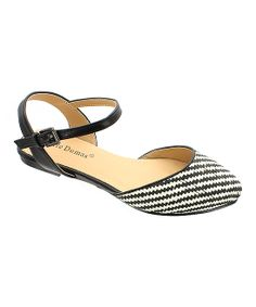 Black Abby Ankle-Strap Flat