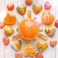 Orange Calcite Sphere — Rocks with Sass Minerals And Gemstones, Crystals Minerals, Rocks And Minerals, Stones And Crystals, Healing Crystals, Gem Stones, Raw Rose Quartz, Rose Quartz Heart, Goddess Provisions