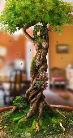 Mujer árbol I found this sculpture interesting b/c i Barranquilla how the lady was used to represent the tree,and also how she represents mother nature. Tree People, Tree Woman, Tree Carving, Tree Art, Tree Of Life, Mother Earth, Garden Art, Sculpture Art, Amazing Art