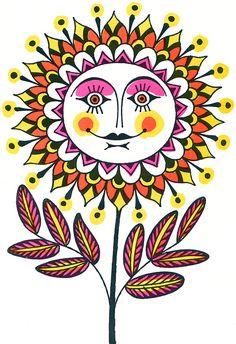 Overly optimistic flower from John Alcorn, Fireside Book of Childrens Songs, 1969.