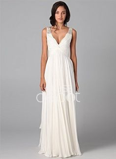 A-Line/Princess V-neck Floor-Length Chiffon Charmeuse Wedding Dresses With Ruffle Beadwork None (002005176) - DressDepot.com