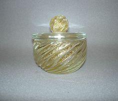 Vintage Glass Trinket Dresser Powder Dish with Lid Gold Flecks