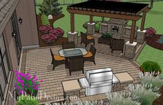 Patio with Pergola Over Fireplace Area | Outdoor Fireplaces Fire Pits