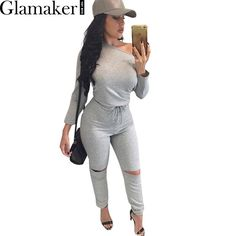 Glamaker Sexy off shoulder long sleeve jumpsuit romper 2016 autumn hollow out gray jumpsuit women Fashion wine red  jumpsuit
