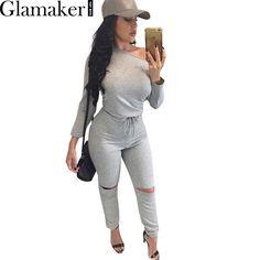 Glamaker Sexy off épaule manches longues salopette barboteuse 2017 spring hollow out gris salopette femmes De Mode vin rouge salopette