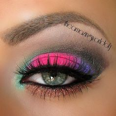Stunning Eye Makeup #eyeshadow #eyes #Pink #green #blue Get more eye looks at http://bellashoot.com!