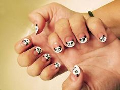 This made me think of you, Becker. Colorful Nail Designs, Cute Nail Designs, Penguin Nail Art, Orange Braun, Black And White Stickers, Black White, Toe Nails, Nails Inspiration, How To Do Nails
