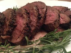Holiday Dinner—Porcini and Rosemary Crusted Beef Tenderloin with Port Wine Sauce Tonjastable.com
