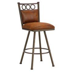 "Iron Mountain 3603326 Waterson Swivel Counter Stool 26"" Seat Height w/ Mayflower Cocoa Fabric - Inca/Bronze"